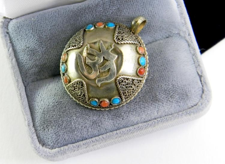 "Vintage Nepal ""OM & Dorje"" Metal Pendant"