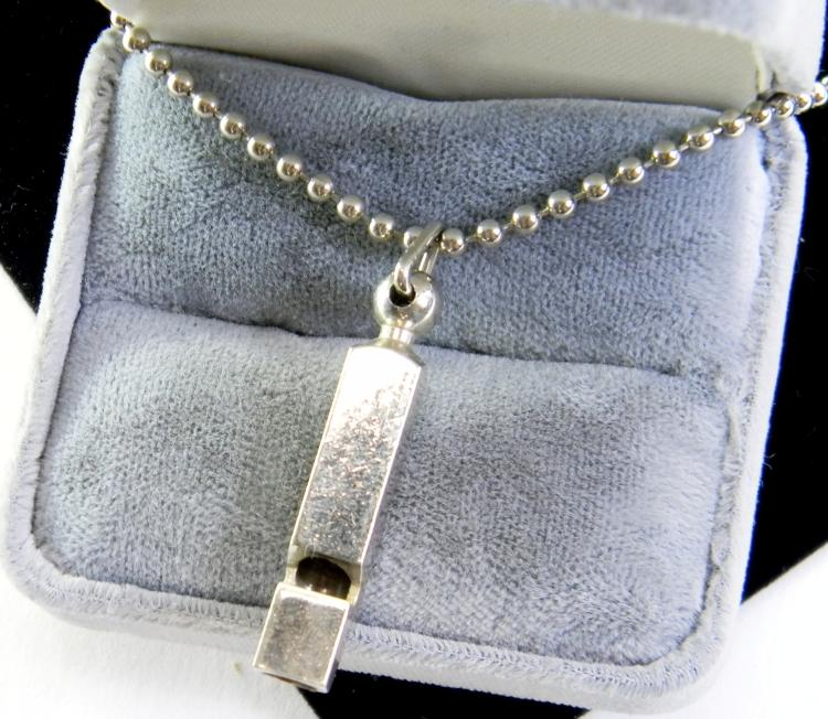 Chrome Metal Whistle On Bead Chain Necklace