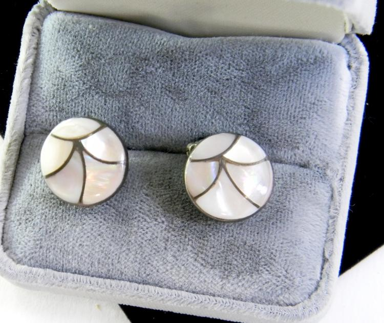 Vintage Sterling MOP Inlaid Clip-On Earrings