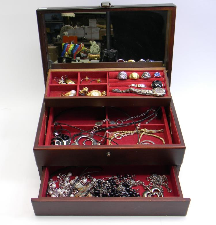 Modern Costume Jewelery In Wood Jewelry Box
