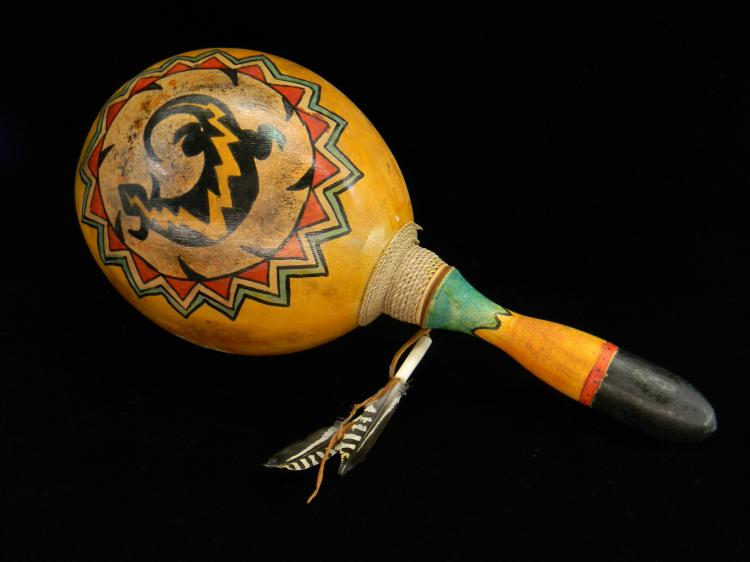 "Native American ""Rabbit & Lizard""  Gourd Rattle"