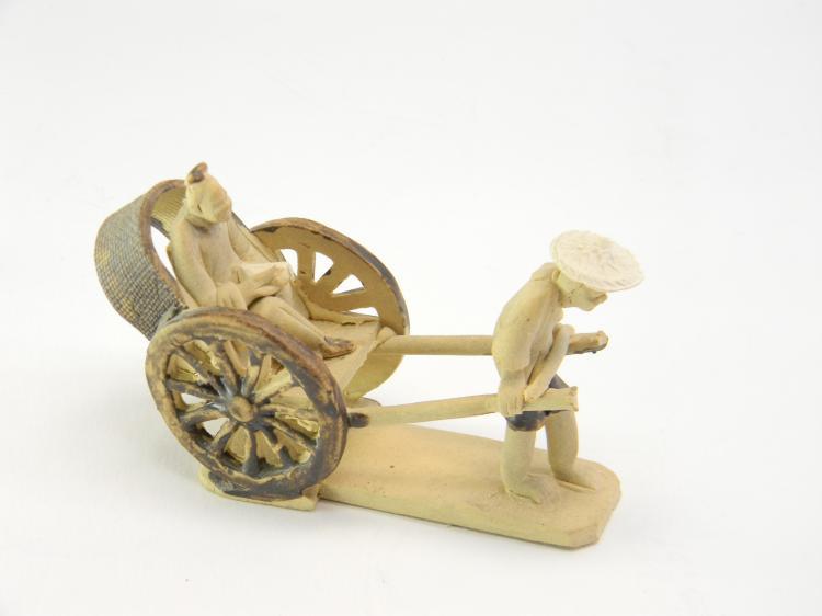 "Vintage Clay ""Chinese Rickshaw"" Figurine"