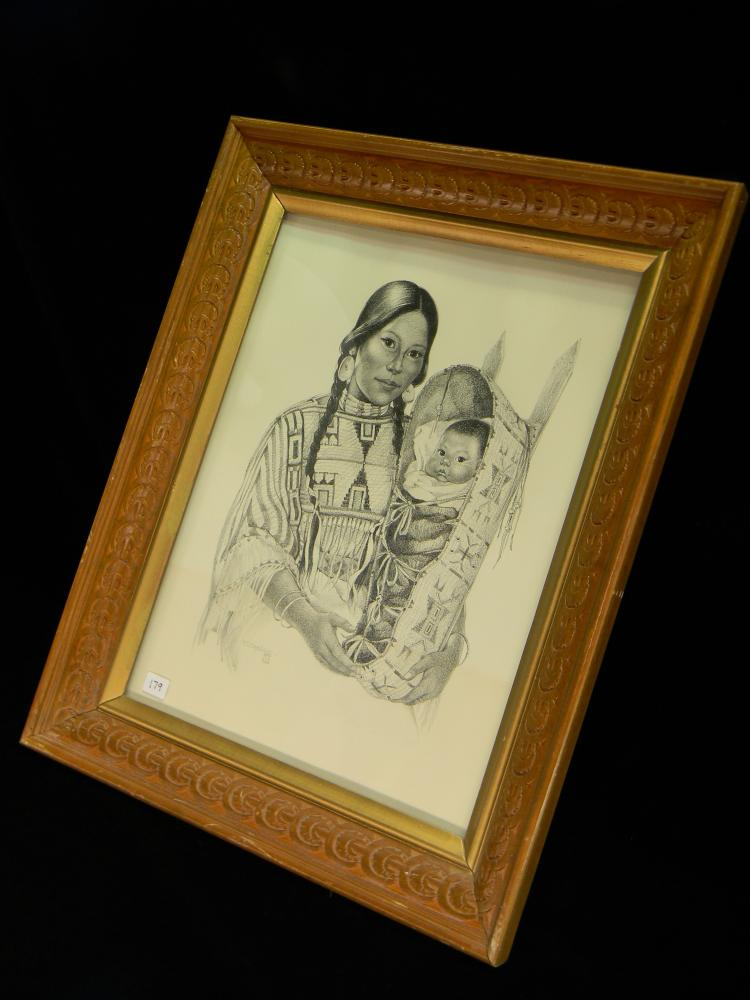 Native American Signed VL Drysdale Framed Drawing