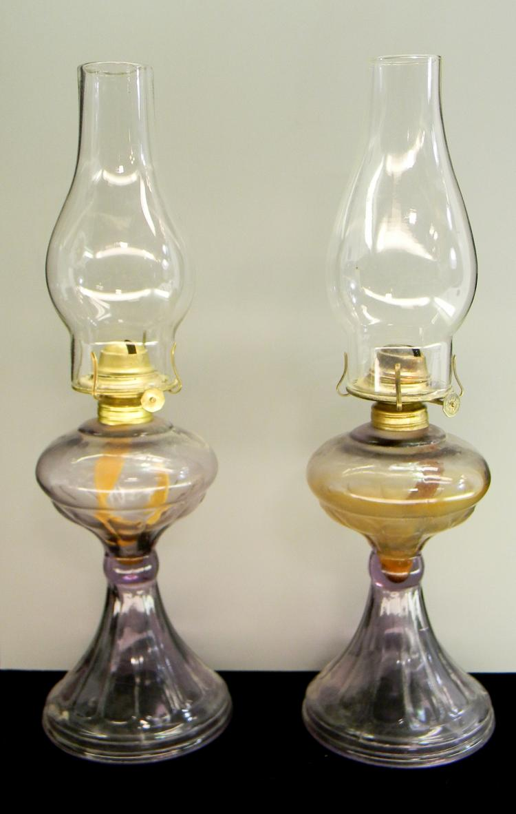 "Vintage Kerosene ""Purple Glass"" Lamp Lot Of 2"