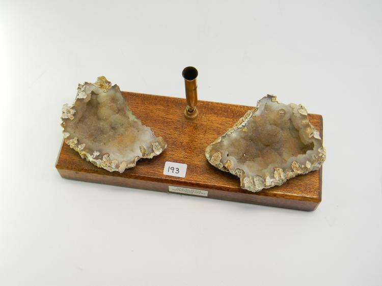 Agatized Coral Druzy Quartz On Wood Pen Holder