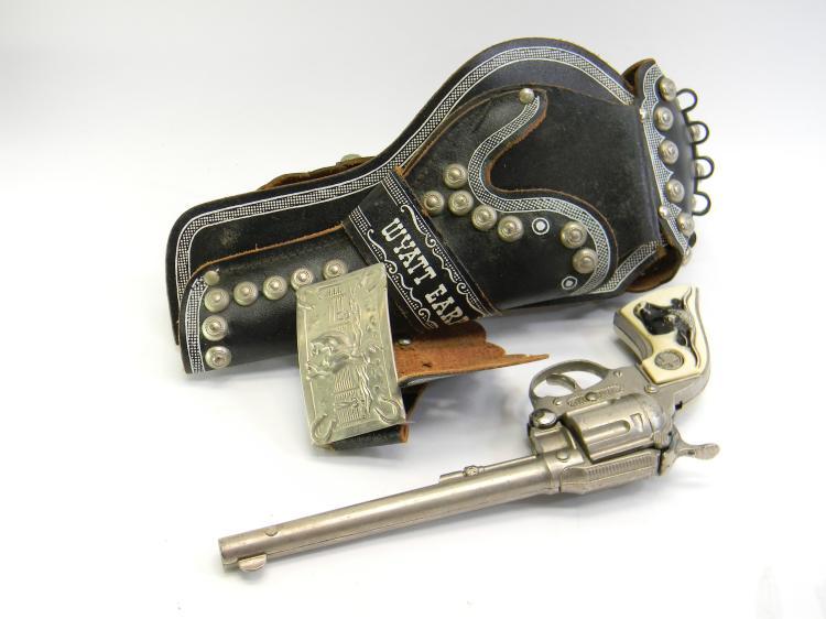 "Vintage Hubley ""Wyatt Earp"" Toy Cap Gun W/ Holster"