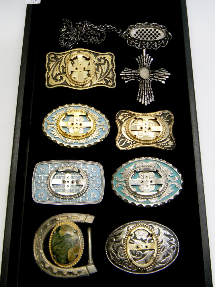 Vintage Belt Buckle & Pendant Lot For Cabachons