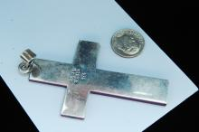 Lot 1: 19g Sterling Taxco Mexico Sugalite Cross Pendant