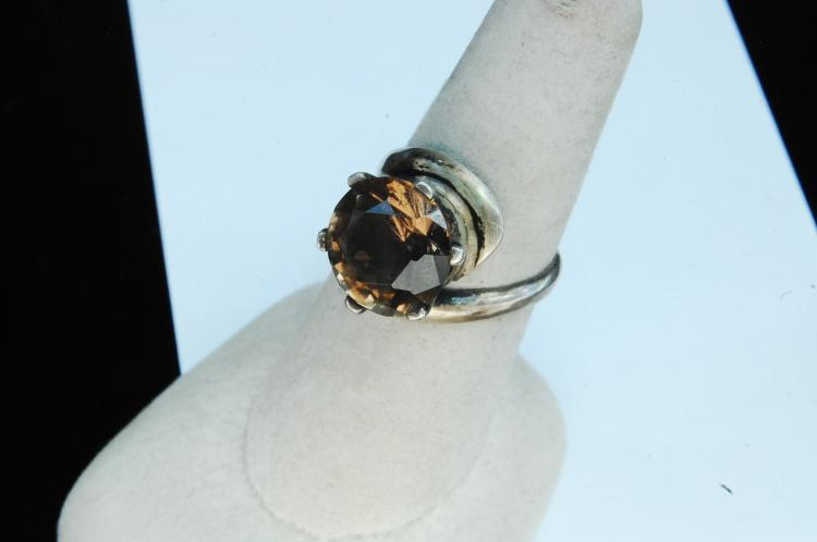 1950's 5.5g Sterling Smoky Topaz Ring Size 7