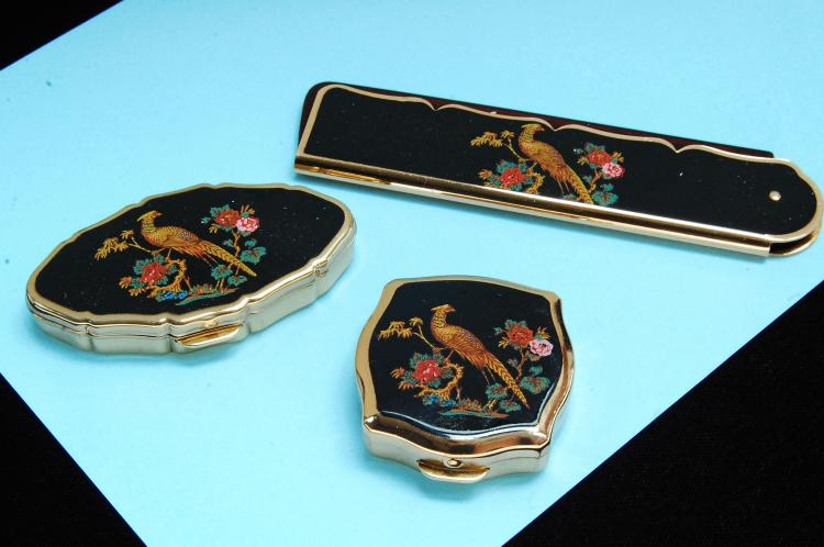 Vintage Signiture England Pill Box & Comb Lot Of 3