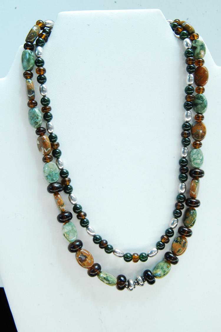 Sterling Ocean Jasper Bead Double Strand Necklace