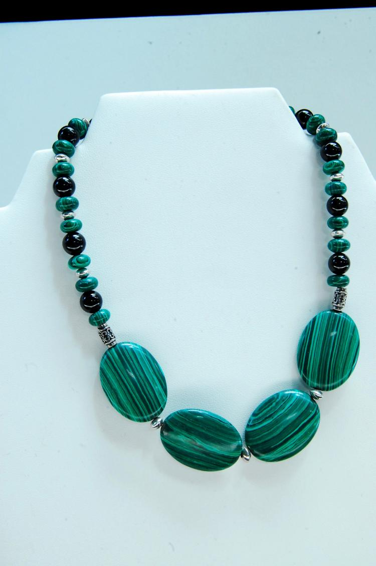 Sterling Malachite Jet Beaded Necklace
