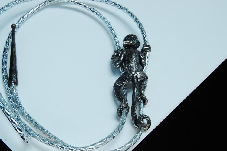 Vintage Sterling Handmade Signed Climbing Monkey Bolo Tie