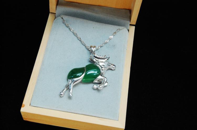 8.7g Sterling Silver Jade Moose Pendant
