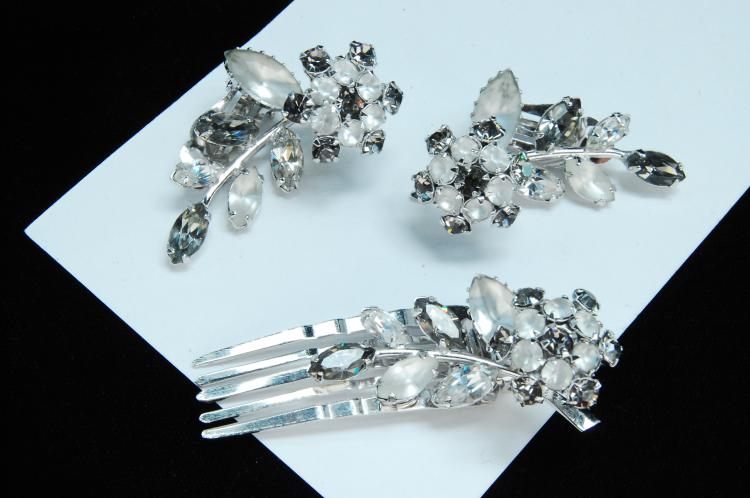 Costume Jewelry Rhinestone Hair Clip Earrings Set