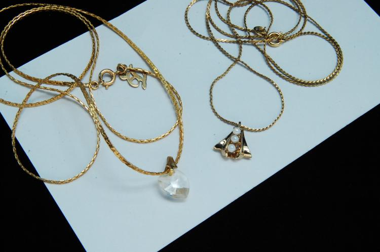 Vintage 12K GF Seed Pearl Crystal Heart Necklaces