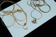 Lot 23: Vintage 12K GF Seed Pearl Crystal Heart Necklaces