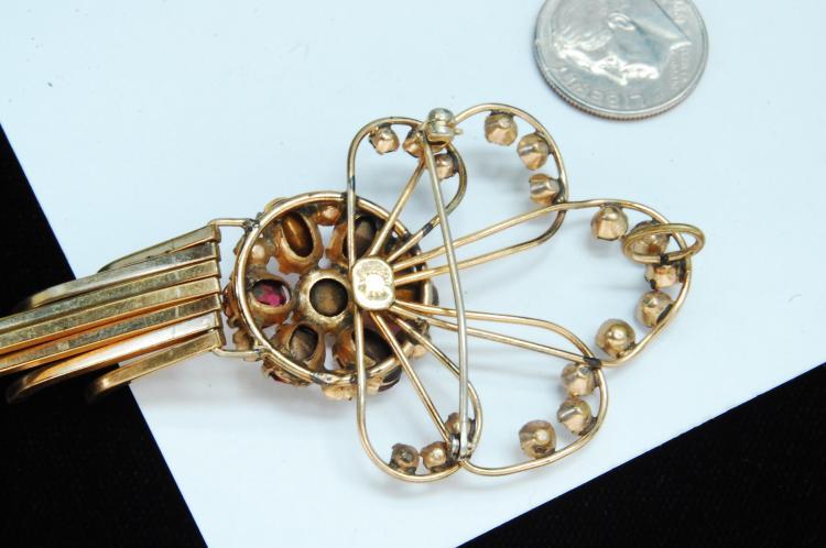 Lot 24: Vintage 12K Gold Filled Rhinestone Brooch