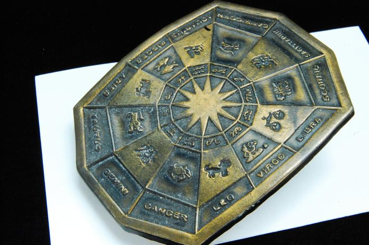 Vintage Brass Zodiac Belt Buckle