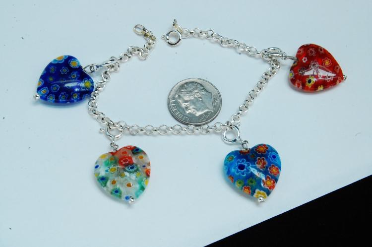 Sterling Silver Murano Glass Heart Charm Bracelet