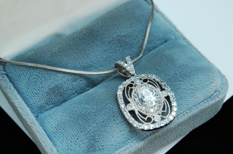 8g Sterling Silver CZ Ladies Necklace