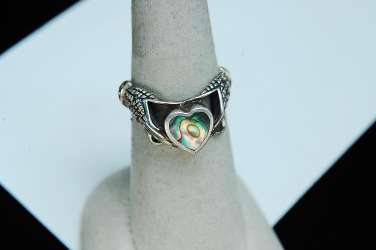 Lot 33: Vintage Sterling Abalone & Marcasite Claddagh Ring Size 6
