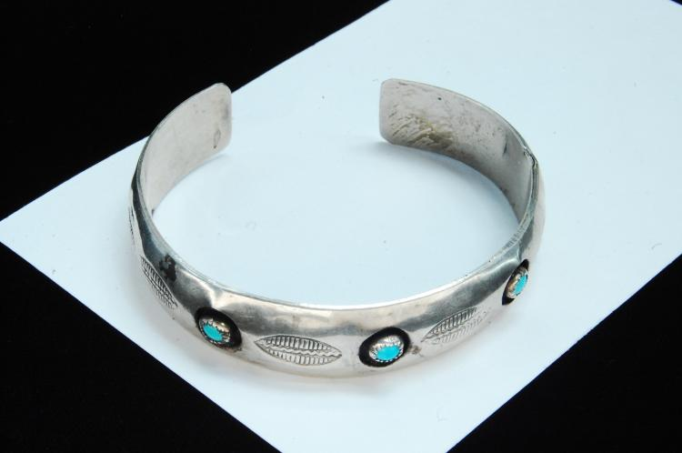 Lot 34: Sterling Turquoise Navajo Shadowbox Bracelet