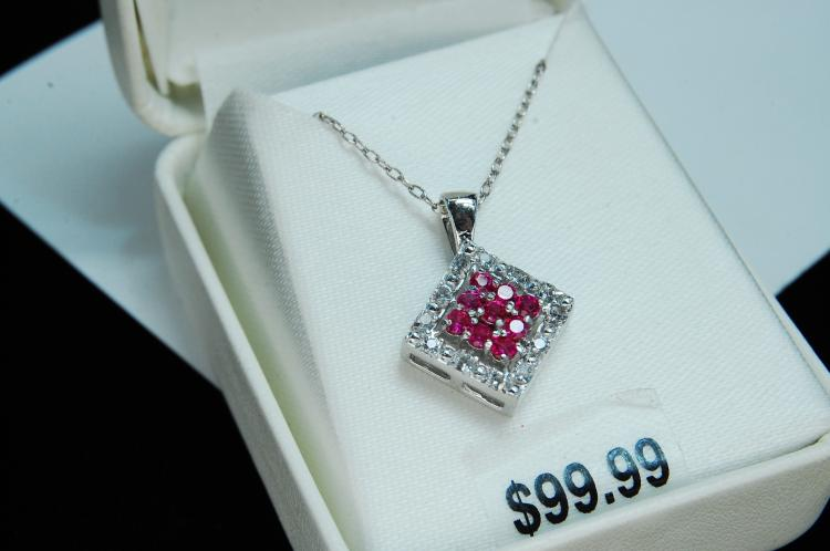 Modern Sterling Silver CZ Necklace