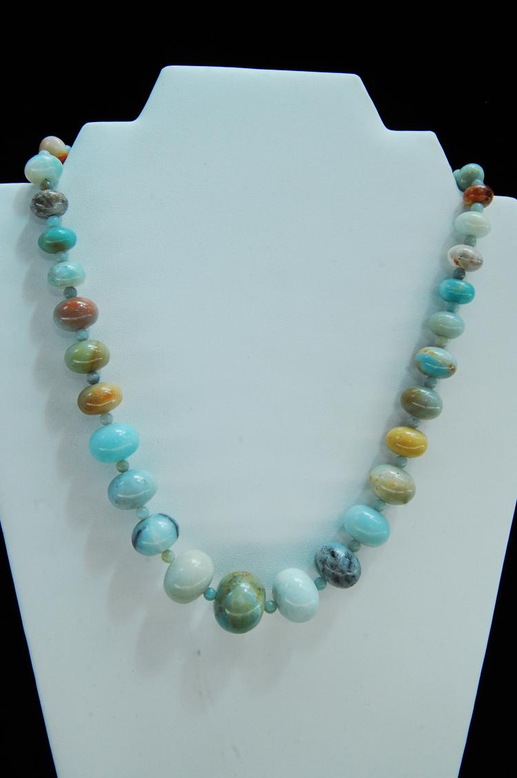 Larimar? Jade? Graduated Bead Necklace