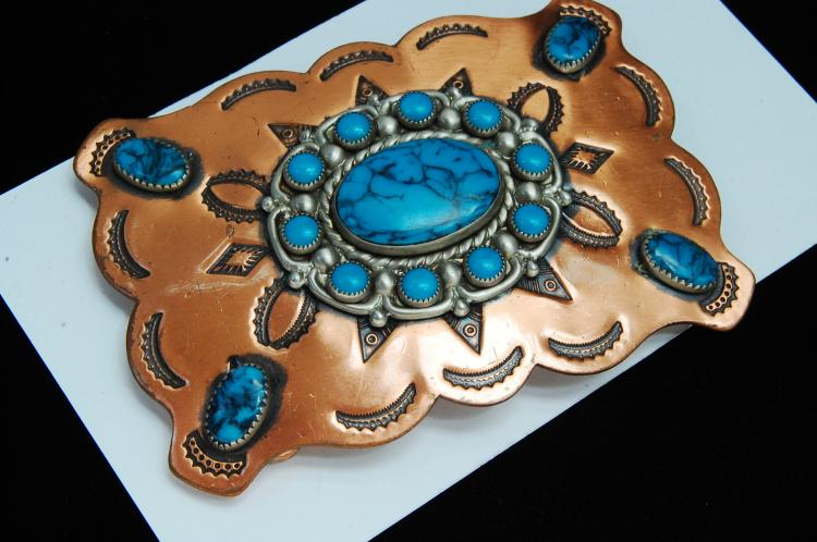 Vintage Bell Copper Faux Turquoise Belt Buckle