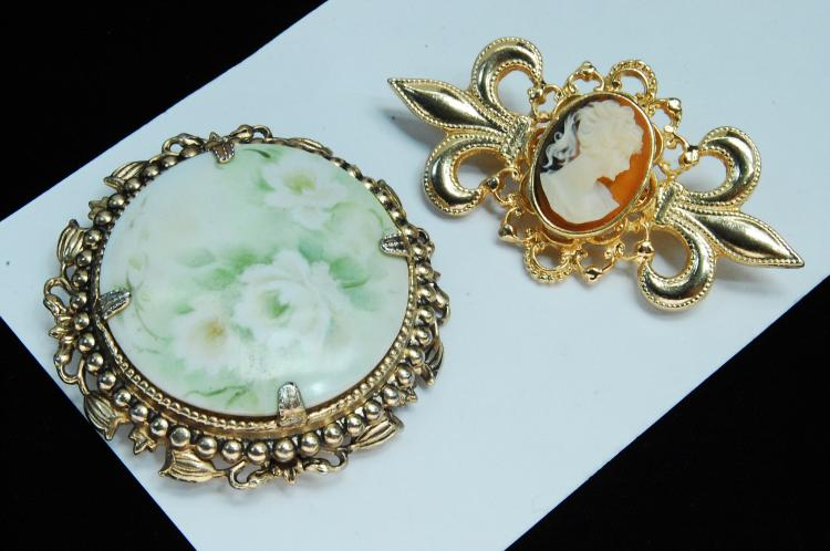 Vintage Painted Porcelain & Cameo Brooch Lot Of 2