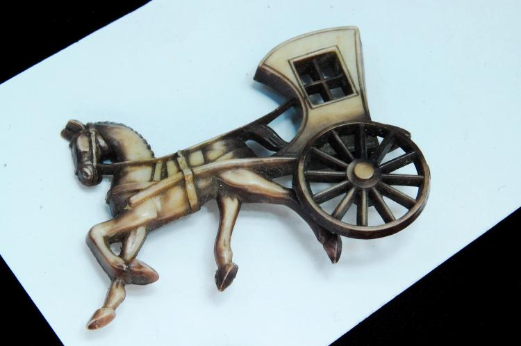 Vintage Horse & Carriage Brooch