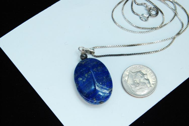 Lot 46: Sterling Silver Lapis Lazuli Bead Necklace
