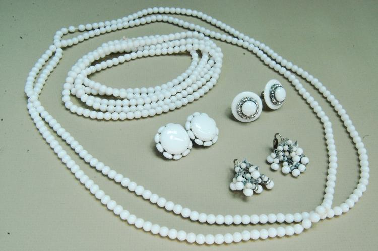 Vintage Milk Glass Costume Jewelry Collection