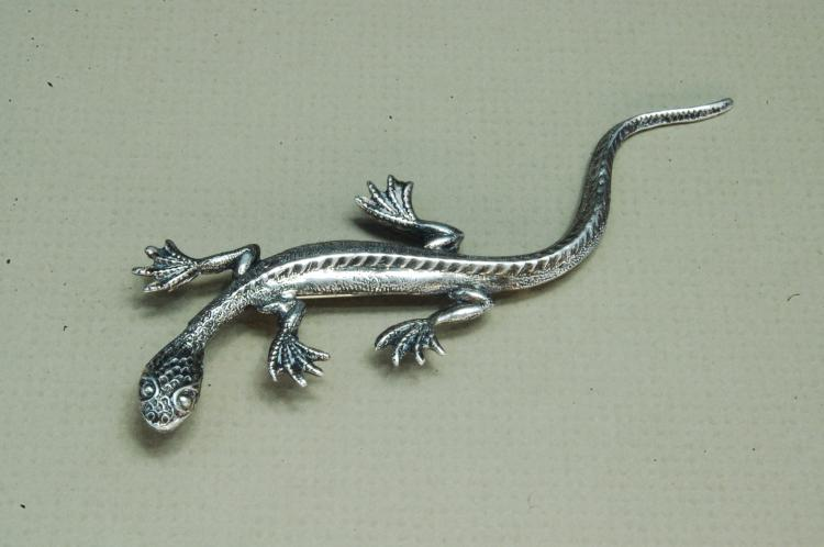 Vintage 5g Sterling Silver Lizard Brooch