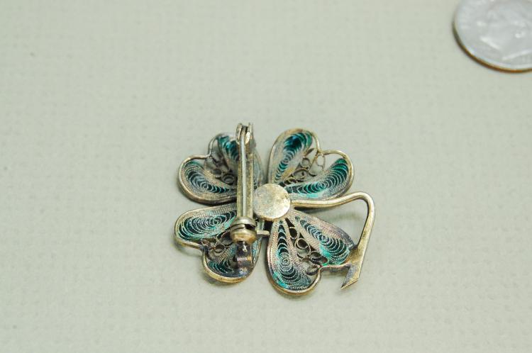 Lot 68: Vintage 900 Silver Filigree Enamel 4 Leaf Clover Lucky Brooch