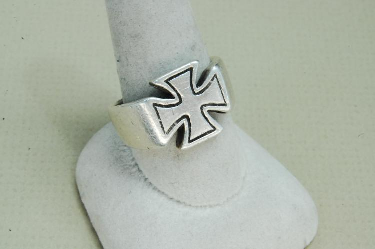 10g Mens Sterling Shubes Inc Maltese Cross Ring Size 10