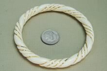 Lot 71: Chinese Export Carved Ivory 14K Gold Bracelet