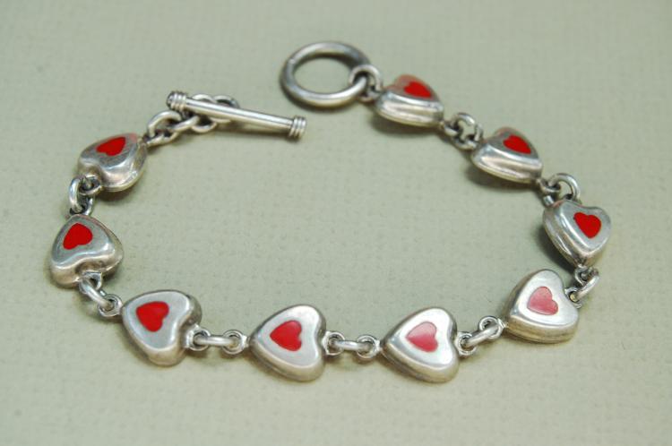 Vintage 16g Sterling Silver Inlaid Heart Bracelet
