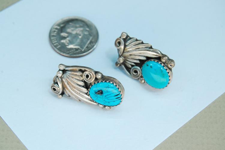 6.4g Sterling Turquoise Signed RB Post Earrings