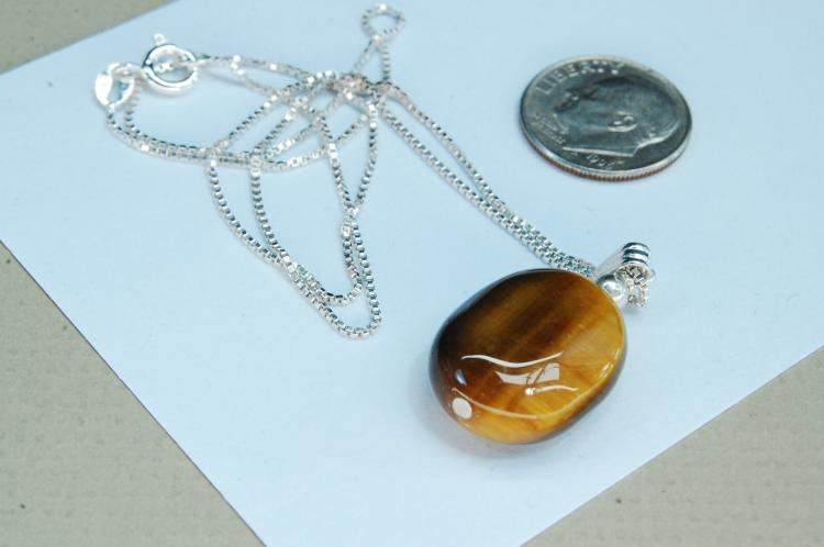 Modern 6g Sterling Tigers Eye Bead Necklace