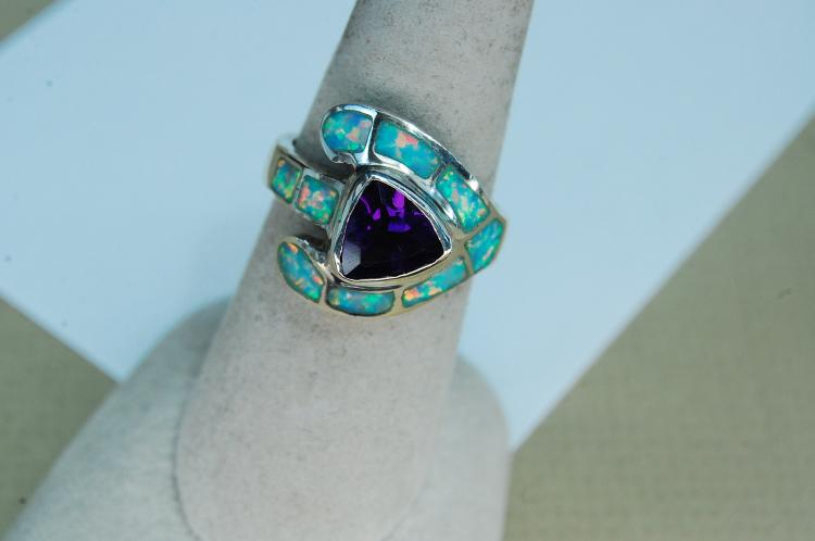 Modern 7g Sterling Amethyst Opal Inlaid Ring Sz 7