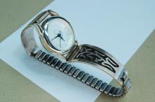 Lot 92: Vintage Sterling Silver Hopi Ladies Watch Tips