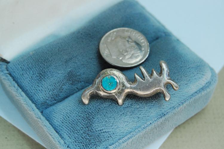 Vintage Sterling Silver Turquoise Quail Brooch