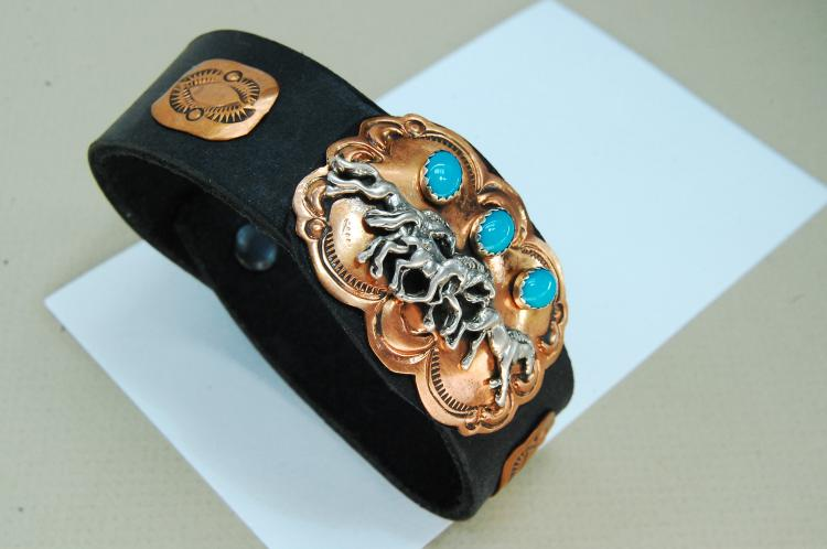 Copper Turquoise Running Horses Leather Bracelet