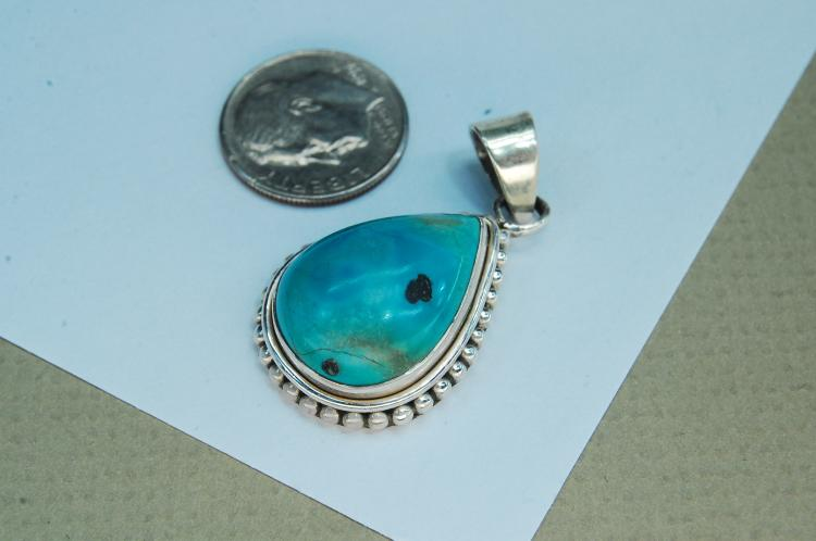 Lot 95: Vintage Sterling Turquoise Teardrop Pendant