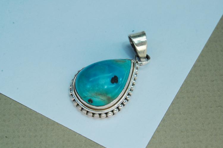Vintage Sterling Turquoise Teardrop Pendant
