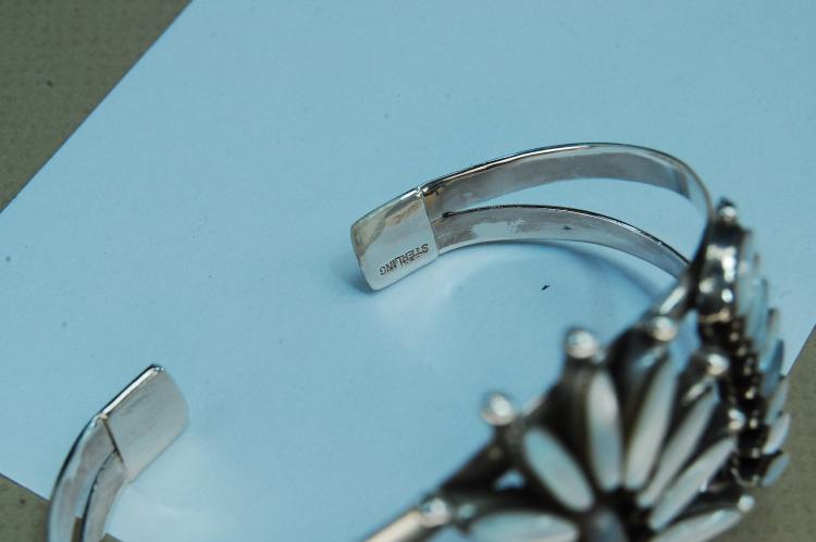 Lot 96: 29g Sterling MOP Petit Point Zuni Cuff Bracelet