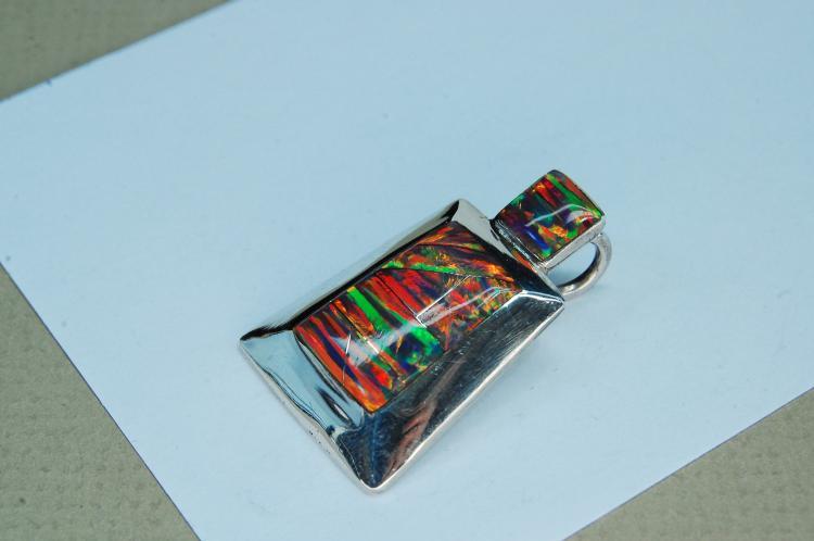 Lot 102: Modern 6.5g Sterling Opal Signed RL Pendant