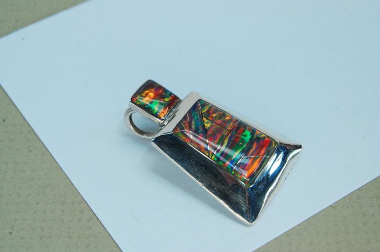 Modern 6.5g Sterling Opal Signed RL Pendant